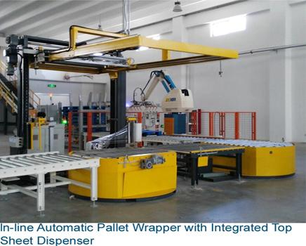 EAT200SPS-TSD-RCT  Automatic Pallet Wrapper with Top Sheet Dispenser and Roller Conveyor Turntable